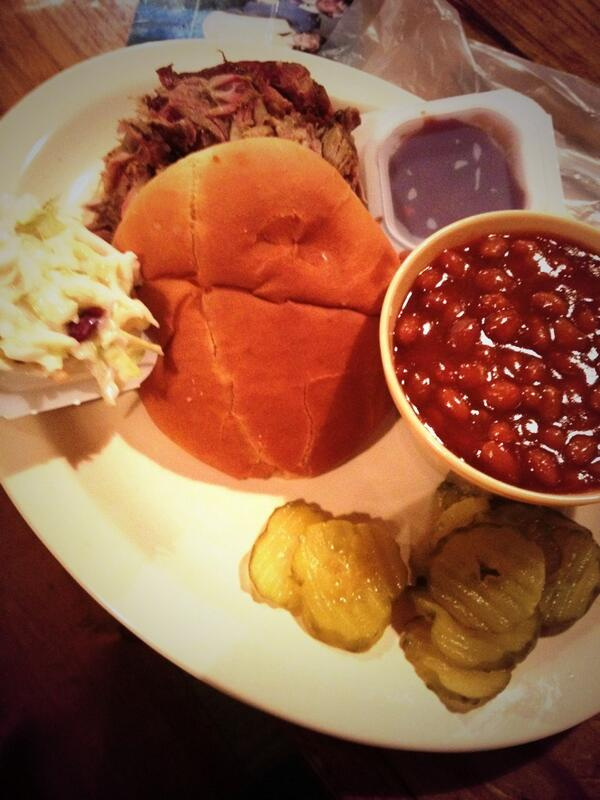 Pulled Pork Sandwich and Baked Beans from Lambert's Cafe in Foley, AL (home of the throwed rolls)