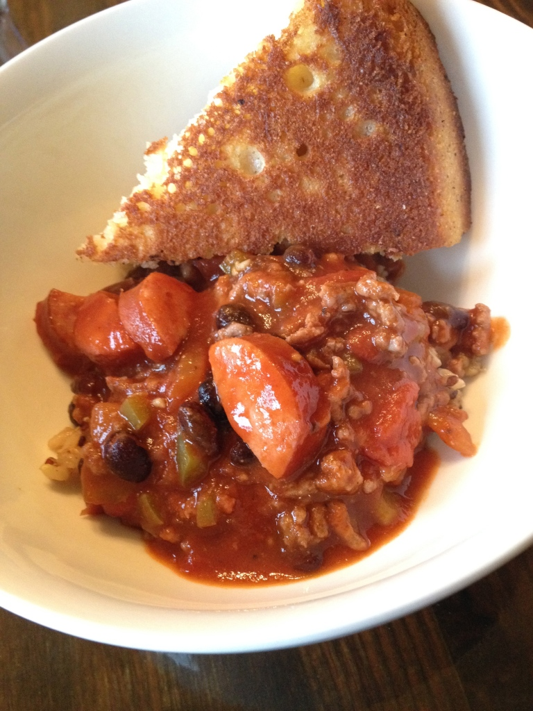 Homemade chili thing (red beans and rice with so much more) with cornbread